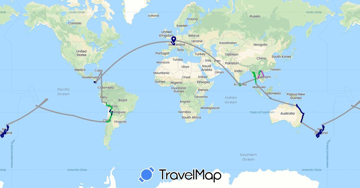 TravelMap itinerary: driving, bus, plane, cycling, train, boat in Argentina, Australia, Bolivia, Chile, Costa Rica, Cuba, France, Indonesia, Laos, Sri Lanka, Myanmar (Burma), New Zealand, Peru, French Polynesia, Thailand, Vietnam (Asia, Europe, North America, Oceania, South America)